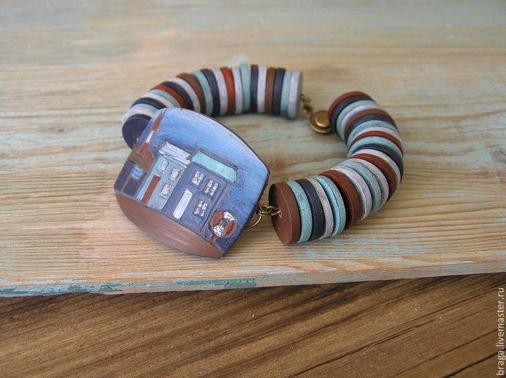 Купить Браслет У моря из полимерной глины - браслет, браслет морской, браслет морской стиль