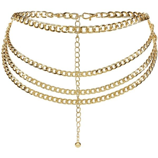 New Look Gold Chain Layered Belt ($11) ❤ liked on Polyvore featuring accessories, belts, gold, gold chain belt, chain belt and gold belts