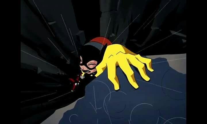 "Literal cliffhanger with Harley Quinn in ""Batman Beyond: Return of The Joker"""