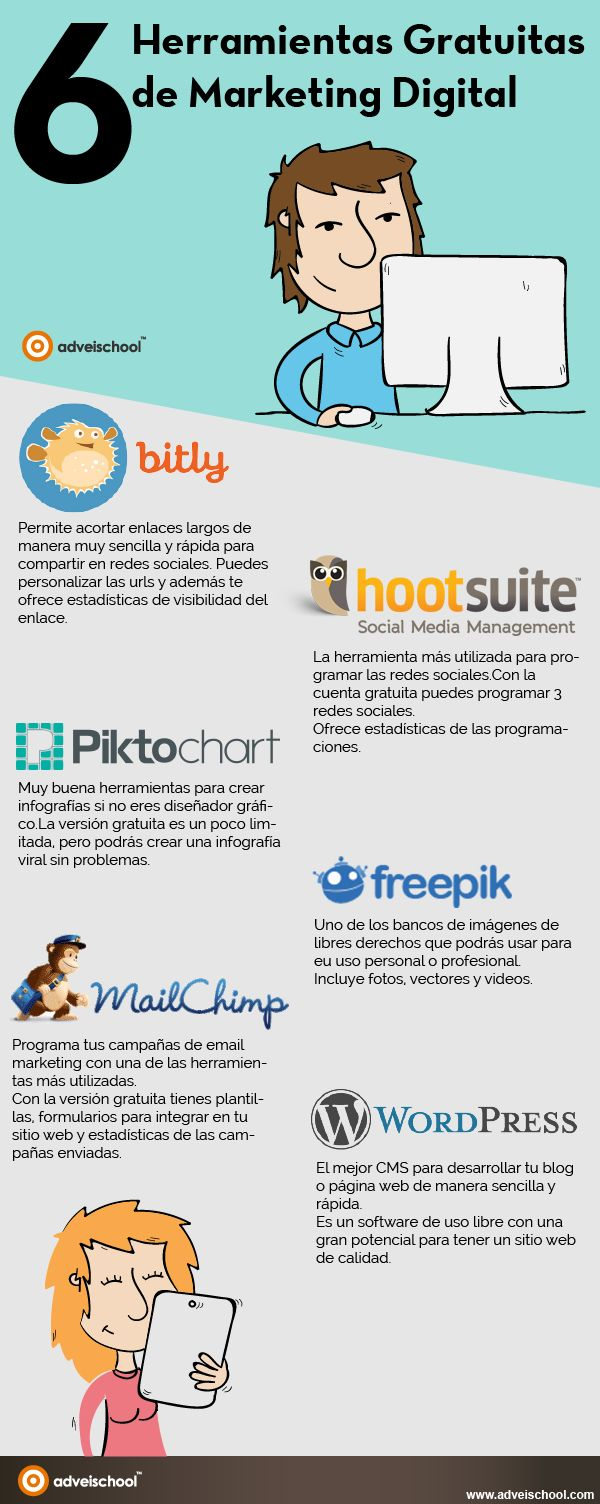 6 herramientas gratuitas de Marketing Digital #infografia #infogtsphic #marketing | TICs y Formación