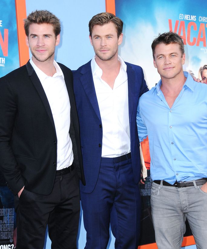 Liam Hemsworth, Chris Hemsworth, and Luke Hemsworth all looked dapper at the premiere of Vacation.