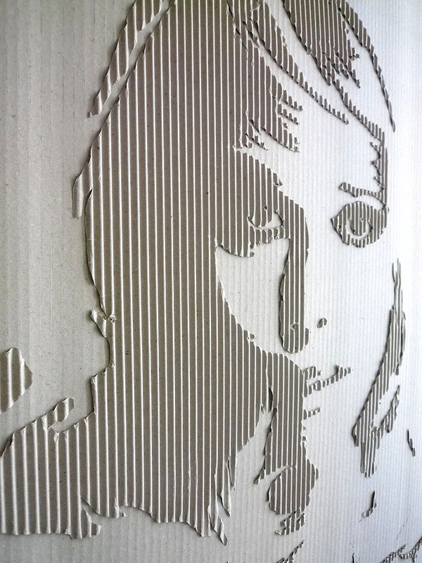 Andreas Scheiger has just recently completed his latest paper cut entitled 'Jane'. He chose a different cardboard for this piece unlike the use of color corrugated cardboard in his other amazing work 'Byrne & Boyle'. This was completely handcrafted using industrial packaging cardboard for a more handmade look with thicker grating