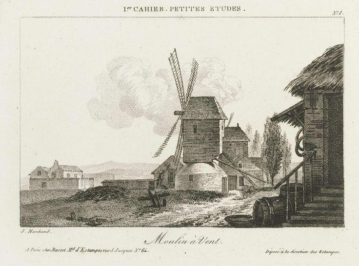 Jacques Marchand | Windmolen, Jacques Marchand, Basset, c. 1790 | Eén van vier tekenvoorbeelden, genummerd 1, in een geel papieren omslag.