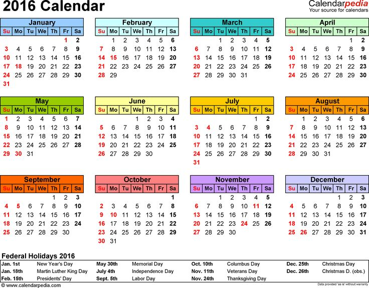 Template 7: 2016 Calendar for PDF, year at a glance, 1 page, in color, landscape orientation