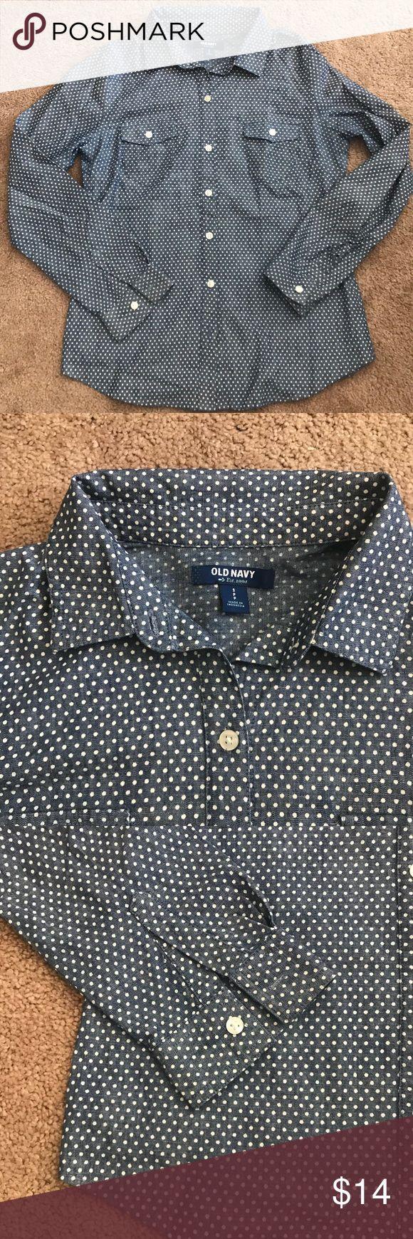Old Navy polka dot chambray shirt Long sleeve polka dot chambray button down Old Navy Tops Button Down Shirts