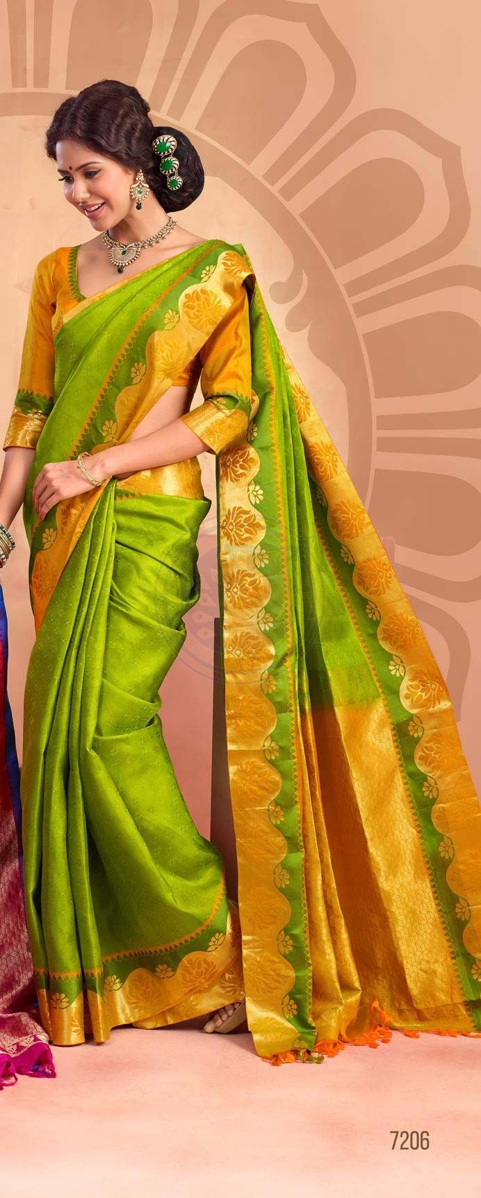 Buy Online traditional silk sarees. BTSS7206