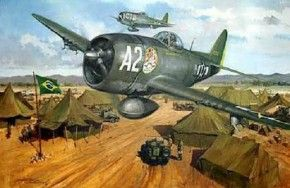 P-47 A2 of Lt. Kopp and in the background the P-47 C1 of Cap. Fortunato, flying over the Brazilian camp in Tarquinia, 1944. Painting by Michael Turner