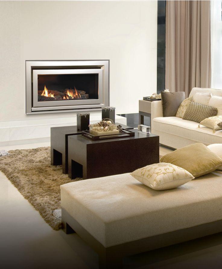 Escea DL850 with Titanium Silver Rado fascia and a log fuel bed.  www.escea.com