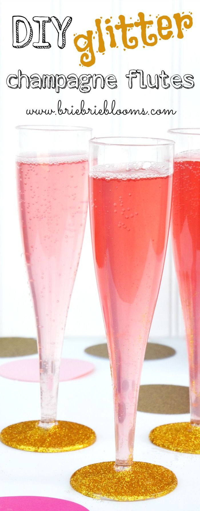 Turn plastic champagne flutes into something sparkly for your next party with this easy DIY glitter champagne flutes tutorial.