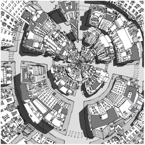 """Inspired by the curious city of Olinda in Italo Calvino's novel, Invisible Cities.  """"…a point no bigger than the head of a pin…becomes a full-size city, enclosed within the earlier city…"""""""
