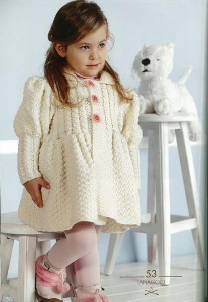 Пальто вязаное для новорожденной девочки