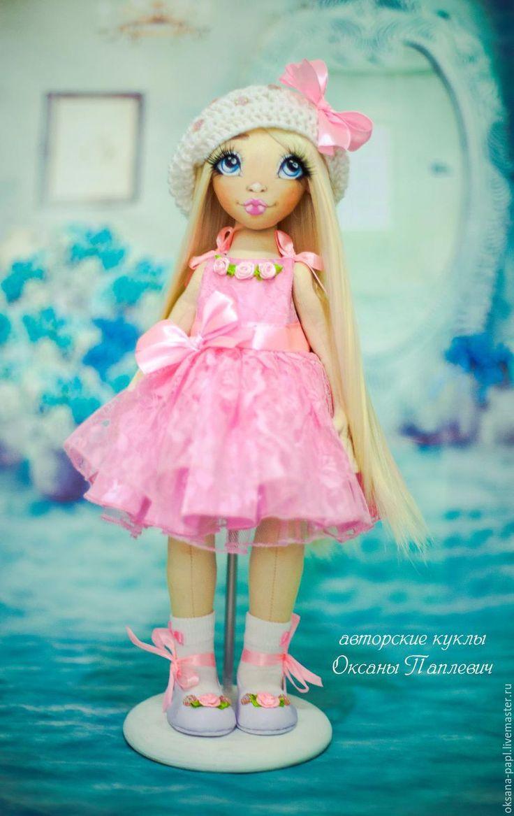 Купить Авторская текстильная кукла - бледно-розовый, авторская ручная работа, авторская кукла