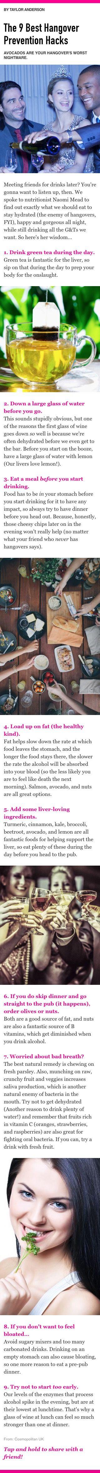 9 best hangover prevention hacks