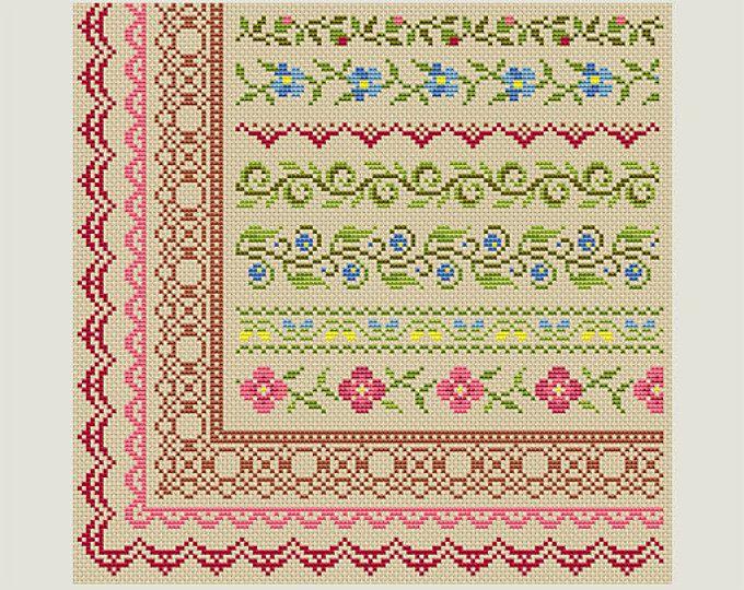 Cross Stitch border - Cross Stitch patterns- Cross Stitch edge - Embroidery Borders- PDF- Instant download