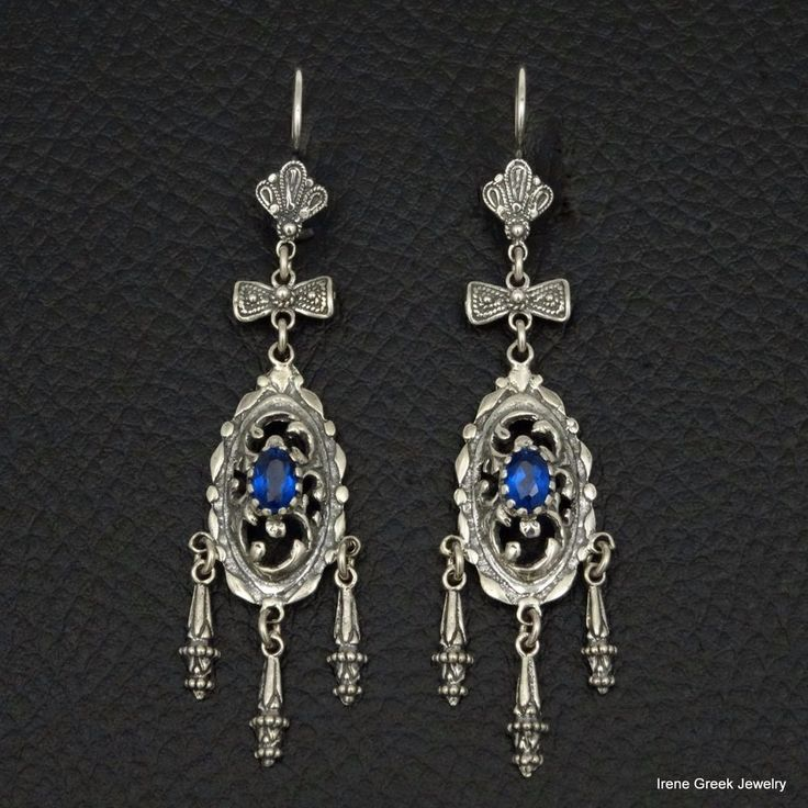 BLUE SAPPHIRE CZ VICTORIAN FILIGREE ART 925 STERLING SILVER GREEK EARRINGS #IreneGreekJewelry #Chandelier