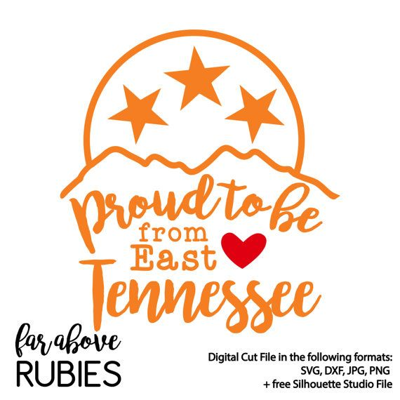 Proud to Be From East Tennessee TN Tristar with Smoky Mountains Heart - SVG, DXF, png, jpg digital cut file for Silhouette or Cricut
