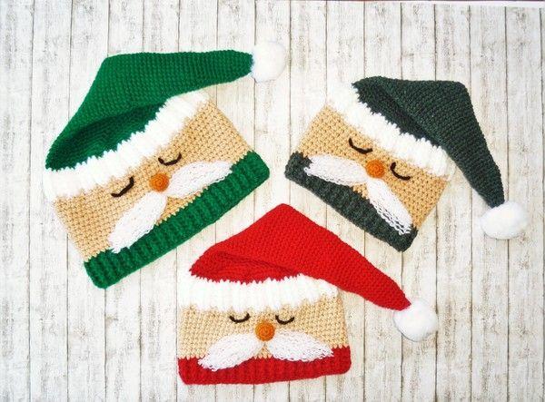 Ho..ho...hoooo......Hier kommt Mütze Santa und läutet die kalte Jahreszeit ein. Hole dir jetzt die Anleitung zu dieser lustigen Weihnachtsmannmütze und ziehe die Blicke auf dich. Die Anleitung beinhaltet 3 Größen:  Kopfumfang 39 cm - 41 cm Kopfumfang