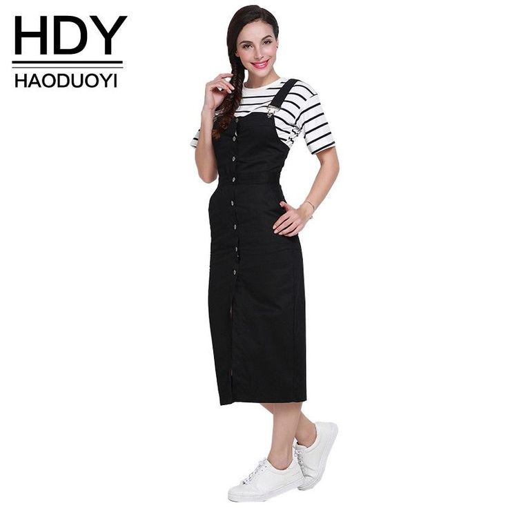 HDY Haoduoyi Autumn Women Fashion Solid Black Single Buttons Pencil Dress High Waist Casual Loose Brief Strap Dress