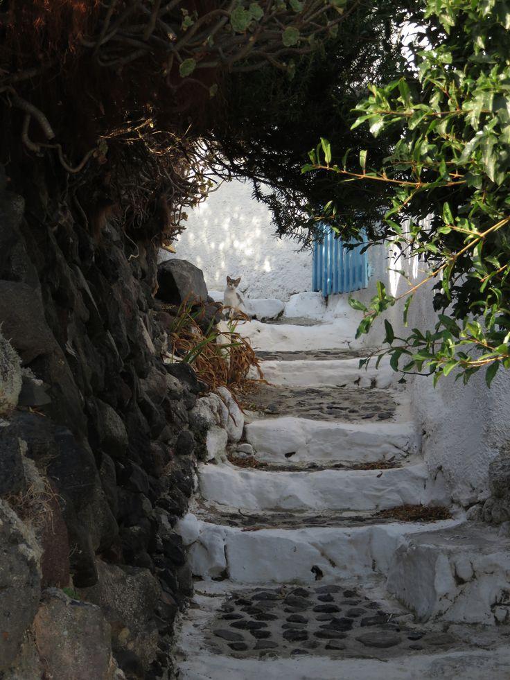 Stairs in Finikia, Santorini, Greece