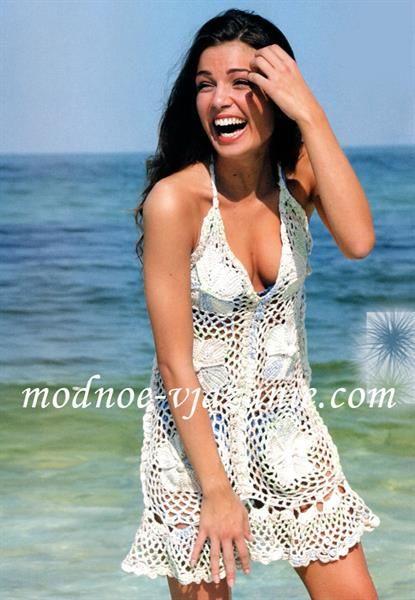 Платье для пляжного отдыха вязание