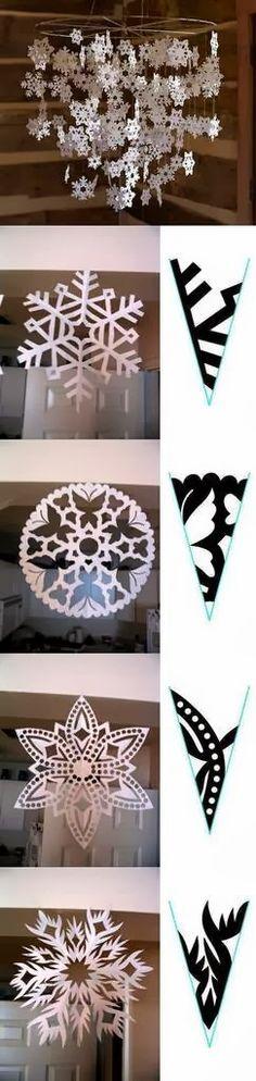 Tutorial para hacer bellos copos de nieve, de papel. Con 34 Plantillas.                                                                                                                                                                                 Más