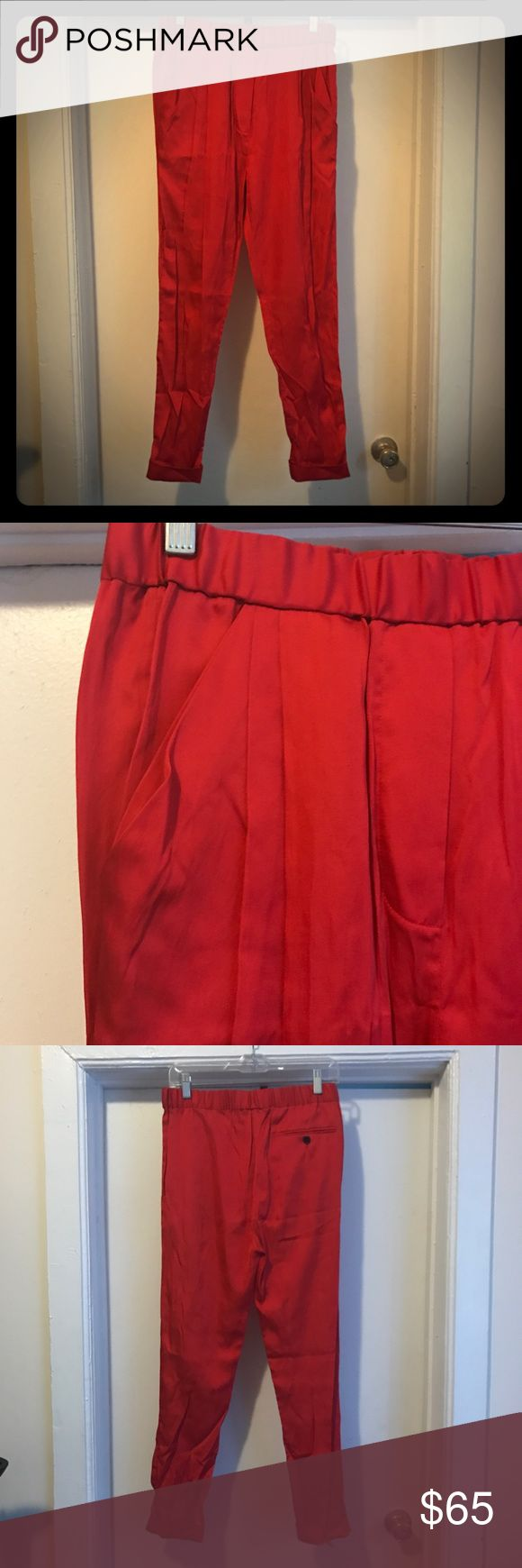 3.1 Phillip Lim RED JOGGER PANTS WITH PLEATS 3.1 Phillip Lim red jogger pants! Elastic waistband and pleating details at the top. Very flattering! 3.1 Phillip Lim Pants Track Pants & Joggers