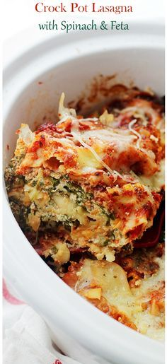 Layers of spinach, feta and light ricotta nestled between sheets of lasagna noodles. Place all the ingredients in the Crock Pot and walk away. Easy Peasy!