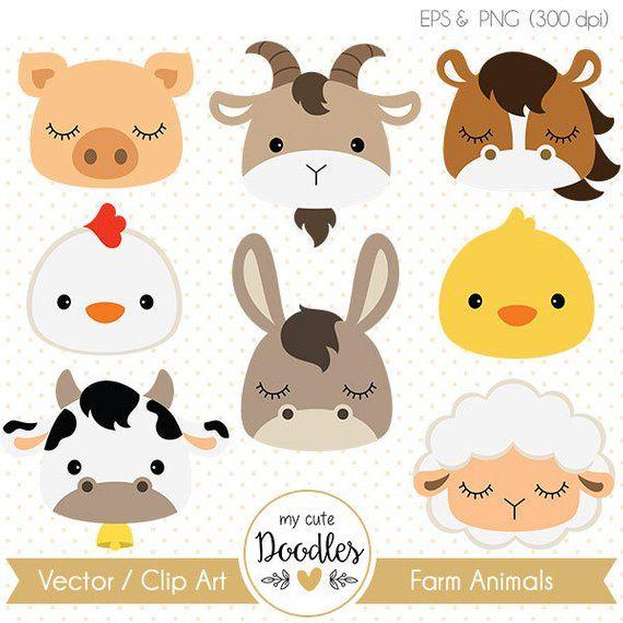Farm Animals Clipart Cute Farm Animals Nursery Art Decor Etsy Animal Clipart Nursery Art Decor Paper Embroidery