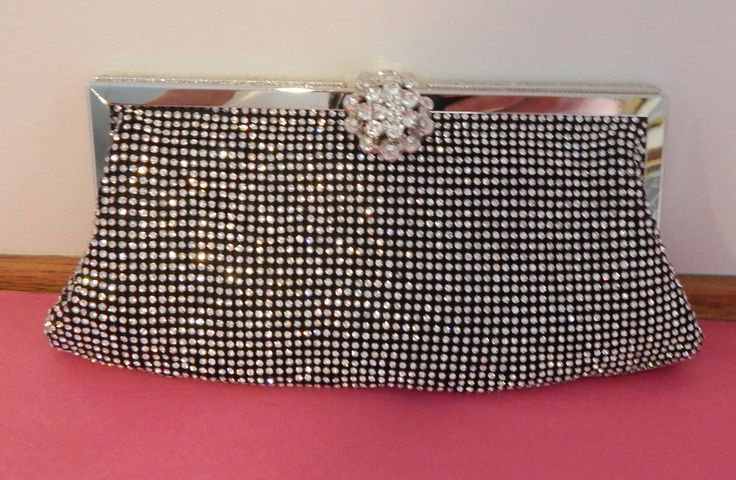 Gorgeous Diamante Clutch Bag with Flower Diamante Clasp - BNWT
