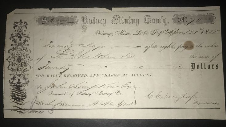 1858 Quincy Mining Company Hancock Michigan Check Quincy Copper Mine