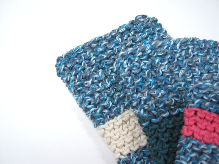 how to set colour in knitted dishcloths