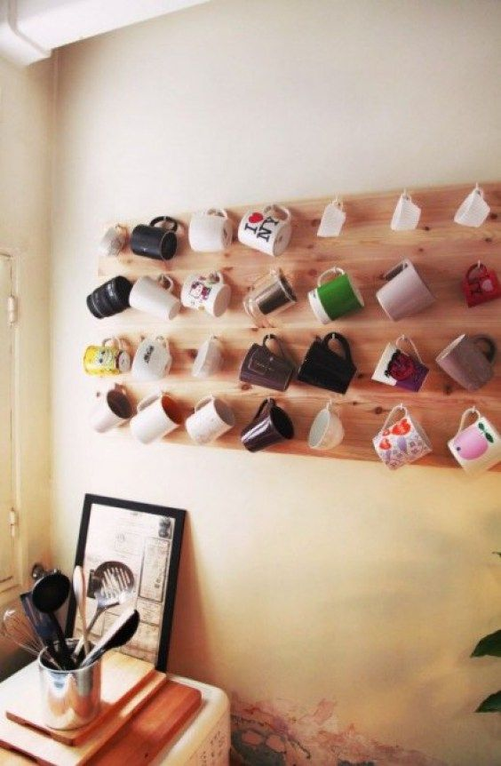 Not hooks, but I love the idea of displaying my mismatched tea cups on a shelf in the dining room