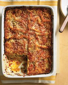 Roasted-Vegetable Lasagna - Martha Stewart Recipes - zucchini, eggplant, 1/2 C evoo, red onions, goat cheese, marinara, lasagna noodles, marjoram leaves, pecorino romano cheese