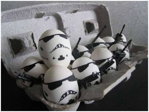 Which came first the storm trooper or the egg?:  Coach Dogs, Storm Troopers, Storms Troopers,  Carriage Dogs, Stars War, Star Wars, Stormtroopers, Easter Eggs, Starwars