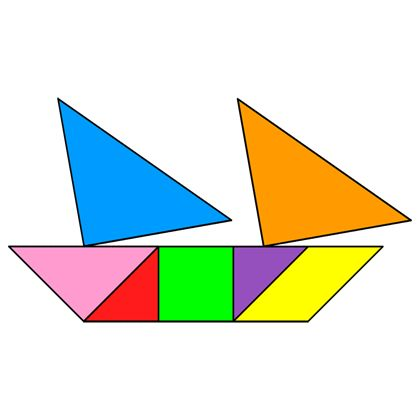 Tangram Schooner - Tangram solution #3 - Providing teachers and pupils with tangram puzzle activities