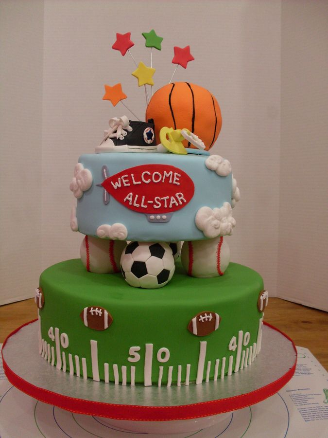 Sports+themed+baby+shower | Sport Theme Baby Shower Cake U2014 Baby Shower