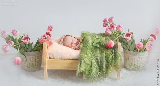 Для новорожденных, ручной работы. Ярмарка Мастеров - ручная работа. Купить Коврик из овечьей шерсти и пуха козы. Handmade. Зеленый