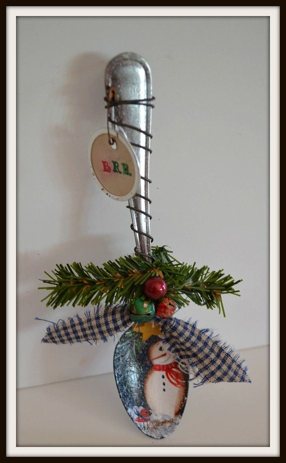 Snowman Christmas ornaments snowman tea spoon by PrimitivePrairie