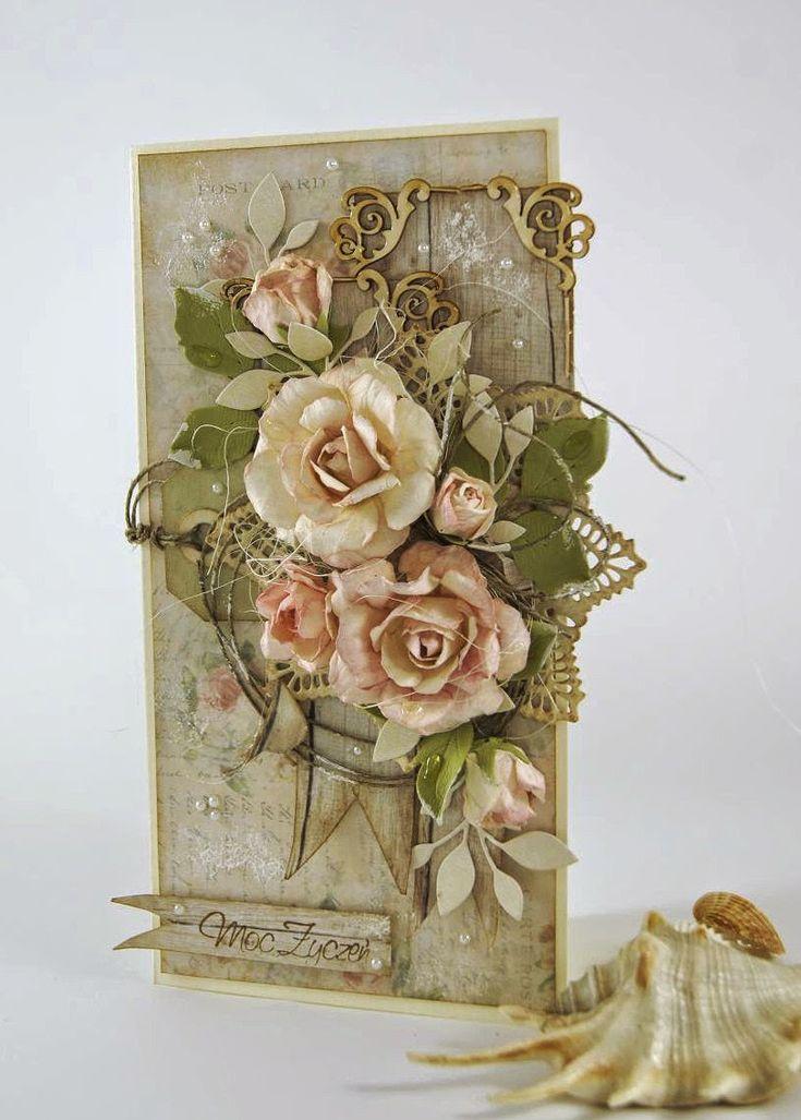 Kartkowy Świat Gosi, Card with handmade paper flowers
