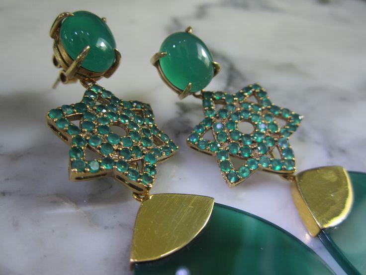 Ohrhänger - Ohrringe Onyx Smaragd Star Ohrhaenger Pave - ein Designerstück von…