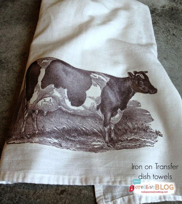 Iron on Transfer Dish Towels | TodaysCreativeBlog.net