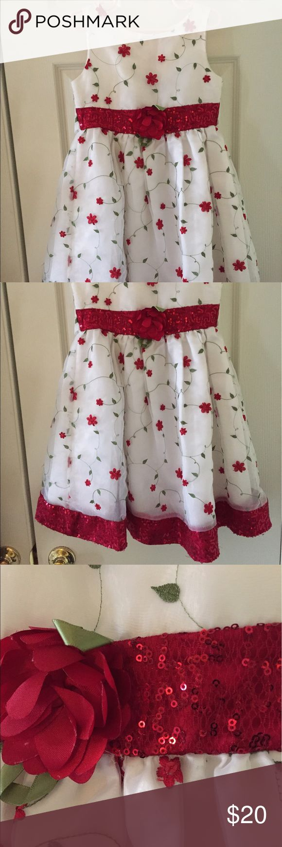 Red white and green floral sequin dress Pretty flowers embroidered in chiffon fabric. Sequined hem and tieback. Matching velour shrug Youngland Dresses Formal