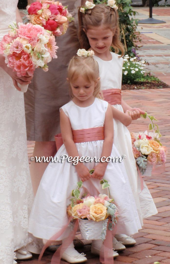 Coral Rose and New Ivory Flower Girl Dress Style 398 by Pegeen.com in infants through plus sizes and 200+ colors all with or without sleeves and petticoats found at Pegeen.com