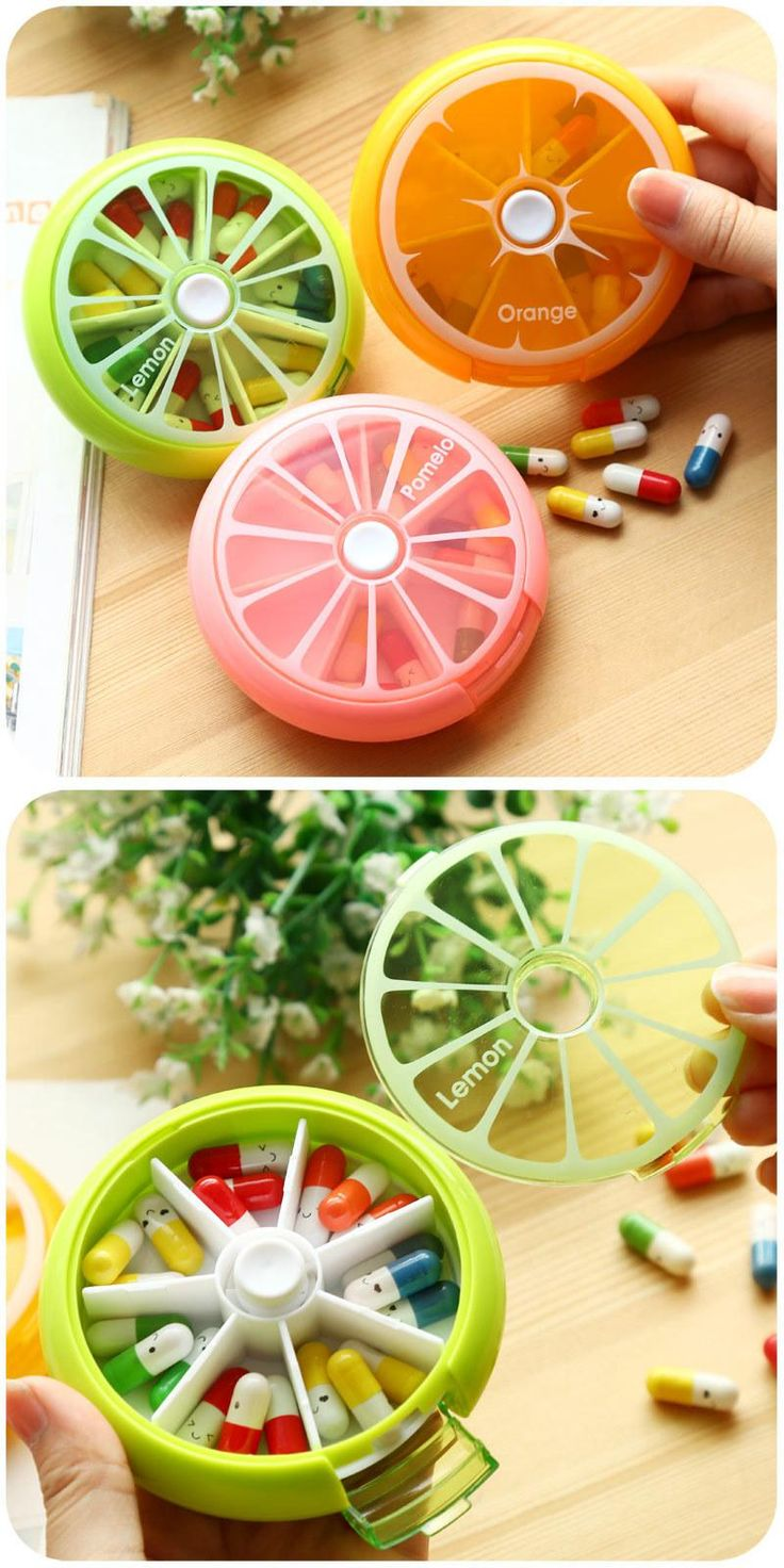 [Visit to Buy] Cute Mini Portable Weekly Pill Box Rotating Pill Case Medicine Box Pill Dispenser Vitamin Holder Candy Storage Cases #Advertisement