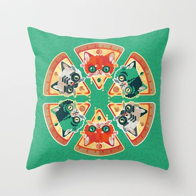 Pizza Slice Cats  Throw Pillow by chobopop - $20.00