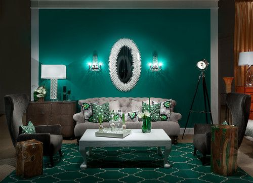 Contemporary Living Room By Larry Hanna Featuring Emerald Arabesque Rug Westoncarpet Green DecorThe