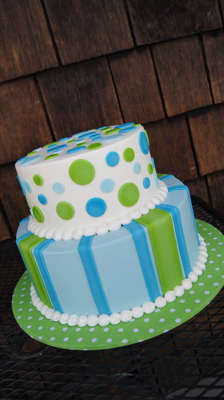 Tiered green and blue polka dot and stripes cake