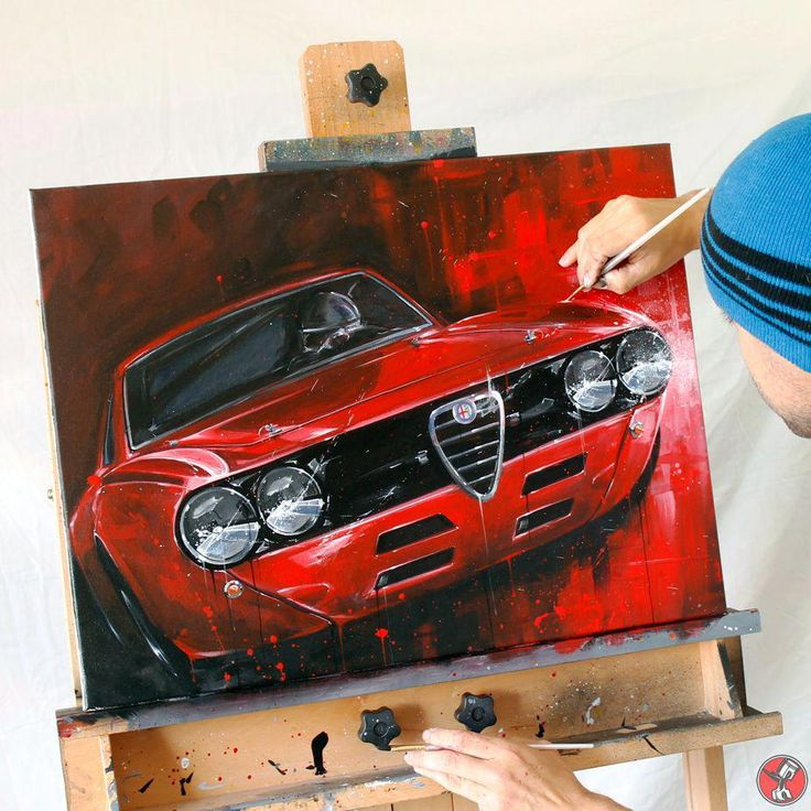 Alfa Romeo 2000 GTV Painting (vintage Race Car