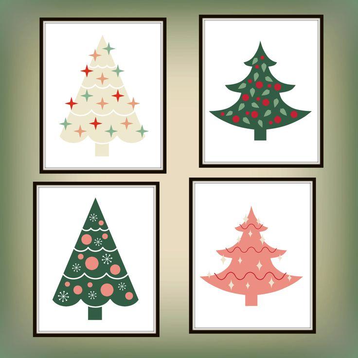 Beige Christmas Tree - Pink Christmas Tree - Green Christmas Tree - Christmas Tree Printable - Christmas Printable - Christmas Decor
