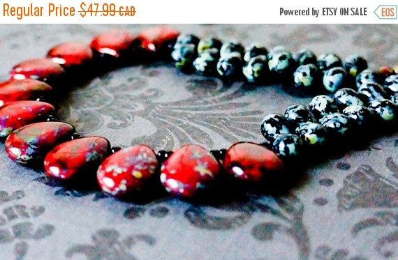 ON SALE Red beaded necklace Red Statement Red Black by AnjouBijoux
